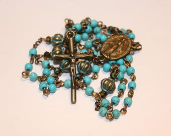 Antiqued Bronze and Howlete Rosary