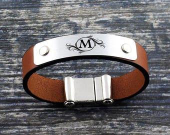 Personalized Leather Bracelet, Custom Initial Bracelet, Mens Bracelet, Personalized Jewelry, Anniversary Gift, Personalized Gift, Mens Gift