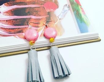 Leather Tassel Statement Earrings