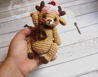 crochet deer ,limited edition,lovely toys,soft toys,back to school,sweet,gift ,amigurumi,cake deer,teddy fawn