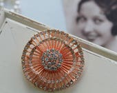 Rose gold Vintage Style Crystal Brooch Wedding Brooch Bridal dress brooch Rhinestone brooch Bouquet brooch