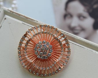 Art Deco Rose gold Vintage Style Crystal Brooch, Wedding Brooch, Bridal dress brooch, Rhinestone brooch, Bouquet brooch