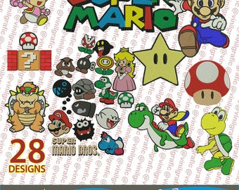 Super Mario Bross kit of 28 Embroidery Designs Patterns Brother pes dst hus jef emb with Resizer Converter Software Included