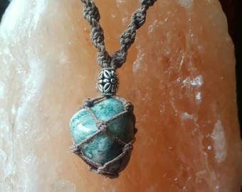 Tree Agate Hemp Wrapped Crystal Necklace