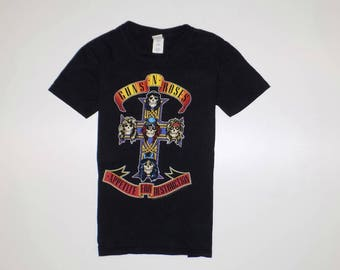 Guns N Roses T-Shirt Appetite For Destruction Vintage Black Shirt Gildan Size Small