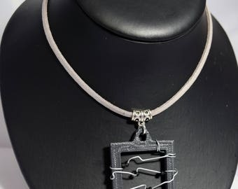3D Printed Wire Wrapped Frame Necklace