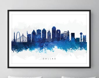 Dallas Skyline, Dallas Texas Cityscape Art Print, Wall Art, Blue Watercolor, Watercolour Art Decor