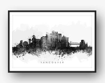 Vancouver Skyline, Vancouver Canada Cityscape, Art Print, Wall Art, Watercolor, Watercolour Art Decor [SWYVR05]