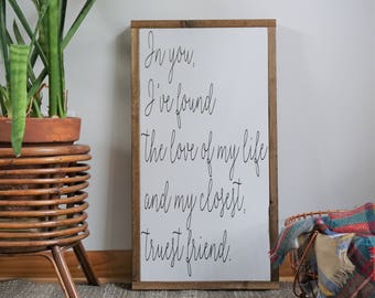 in you i've found the love of my life | framed wood sign | boho home decor