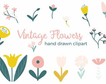Vintage Flowers Hand Drawn Clip-art