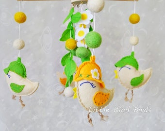 Baby mobile Spring birds Baby nursery mobile Crib mobile Perfect mobile Exclusive mobile Baby ceiling mobile Baby felt mobile Nursery decor