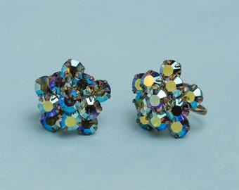 Weiss Blue Rhinestone Floral Screw Back Earrings | 1950s Vintage | Bridal