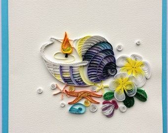 Candle in Seashell Card, Love Card, Greeting Card