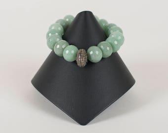 Pave diamond and aventurine stretch bracelet