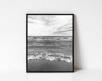 Photography Wall Art, Black and White Photography, Lake Michigan, Landscape, Lake Photography, Water Photography, Ocean, INSTANT DOWNLOAD
