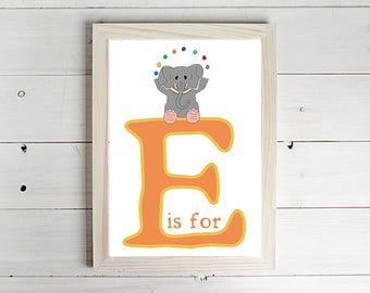 E is for Elephant Alphabet Print - Unframed Art Print, Elephant Drawing, Nursery Picture, Animal Wall Art, Children's Decor, Kid's Bedroom