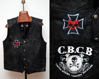 Osx Mens Leather Waistcoat size M Black Western Motorcycle Biker CBCB