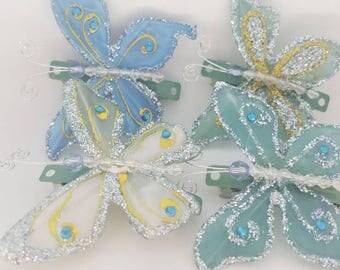 Blue butterfly barrettes