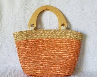 Woven Straw Purse / Peach Straw Woven Handbag / Vintage Straw Handbag