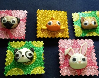 5 Googly Eyed Animal 3-D Magnets
