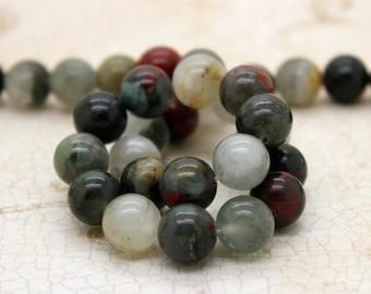 Blood Stone Bloodstone Smooth Round Gemstone Beads (4mm 6mm 8mm 10mm)