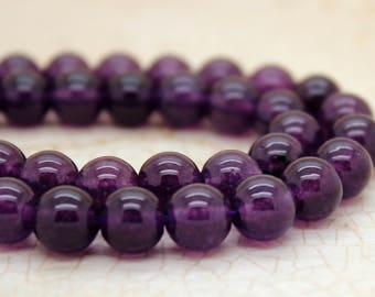 Purple Agate Smooth Round Gemstone Beads