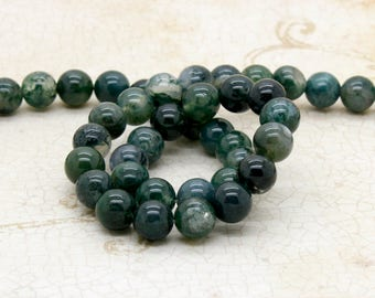 Green Moss Agate Smooth Round Beads Natural Gemstone (4mm 6mm 8mm 10mm) Full Strand
