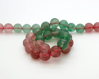 "Mixed Strawberry Quartz Smooth Transparent Pink Green Quartz Ball Sphere Round 8mm Natural Gemstone Beads 15.5"" Strand"