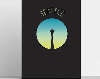Seattle Travel Minimal Travel Poster Digital Art Home Decor Modern Wall Art