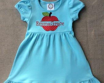 Back to school dress, Apple Appliqué Dress, Back to school Apple dress