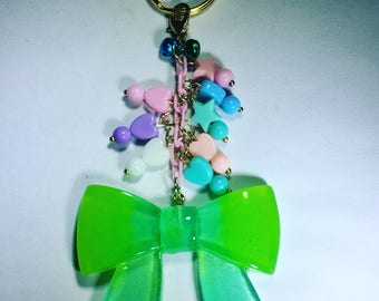 Bow keychain purse charm with bells