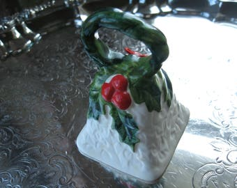 White Lefton Christmas bell with holly