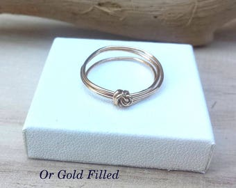 Gold filled wrap around and knot gold ring
