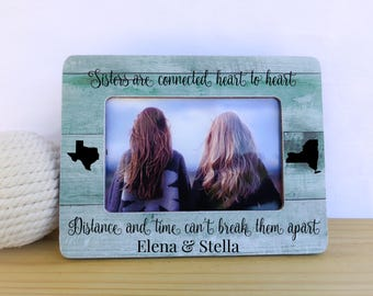 Personalized Sisters Frame Long Distance Sisters States Long Distance Frame Sisters Gift Best Friend Sister Frame