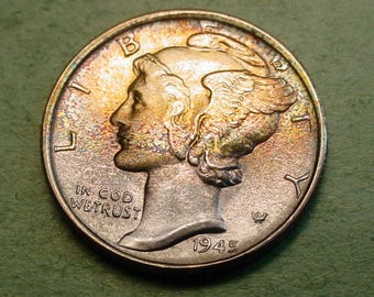 1945-S Mercury Dime  Gem BU Maybe a 6 One of a Kind Toning Rainbow Both Sides   / The Coin You See is the coin you get  <>ET5349