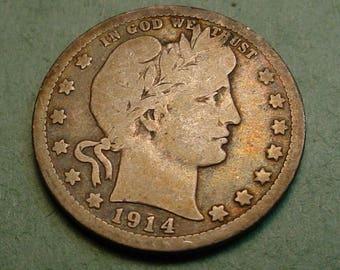 1914 Barber Quarter VG Original<>ET6331