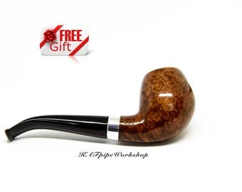 Wooden Briar Tobacco pipe #20/Handmade smoking pipe/Tobacco smoking pipe from BRIAR/Briar bowl/Mini pipe/+Free GIFT pouch/Girly pipe/Briar