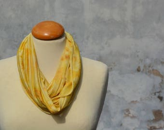 Loop, Snood, Seidenloop, yellow, silk, wool, Jersy, eucalyptus, handmade in the FilzHaus16