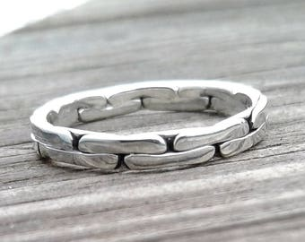 Brick Ring, Solid Sterling Silver Ring, Alternating Edges Ring