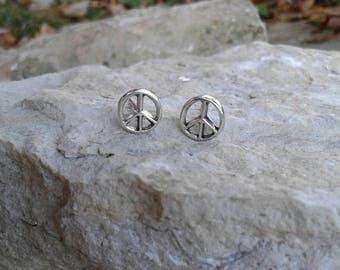 Peace Sign Earrings, Solid Sterling Silver Peace Sign Stud Earrings, Hippie Earrings