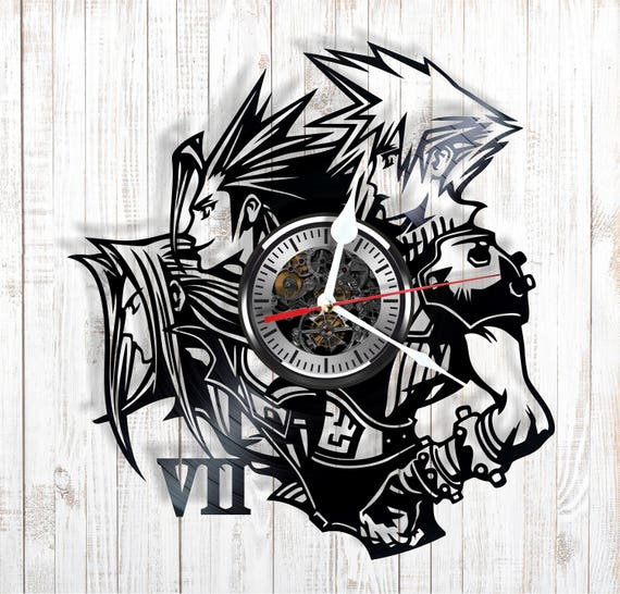 Silent Wall Clock Final Fantasy 7 Made Out Of Real Vinyl