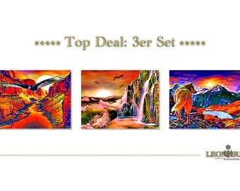 ABSTRACT ART - set of 3 - canvas - canvas - 102 abstract art abstract art - abstract painting - modern art - modern art