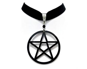 necklace choker velvet big black pentagram pentacle gothic wicca occult pagan witch
