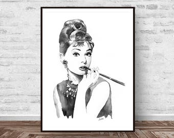 Black and white print, Audrey Hepburn art, fashion art print, breakfast at Tiffany