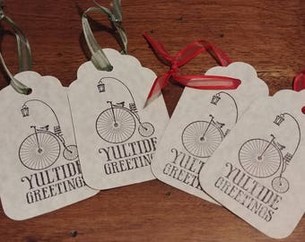 Lot of 4 Yuletide Greeting Tags