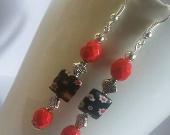 Red, black and silver dangle earrings
