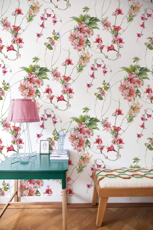 Vintage Floral Wallpaper Vintage nursery decor Flower