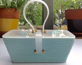 Suki Originals, Turquoise Box Purse with Lucite Handle and Closure