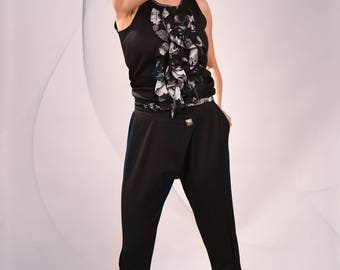 Black Casual pants/ Drop-Crotch Trousers/Loose/Cotton-Blend/ Button fastening / Extravagant / Stylish