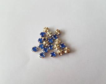 Set of 5 mini Blue cabochon Swarovski rhinestones